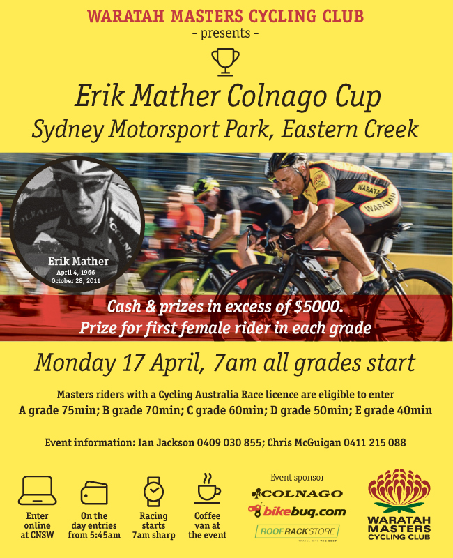 Erik Mather Colnago Cup – Monday 17 April